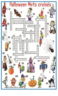 Halloween Mots croisés Theme Halloween, Halloween Games, Halloween Activities, Halloween 2017, Halloween Crafts, Party Activities, Bricolage Halloween, English Classroom Activities, Sports Crossword
