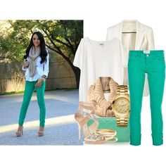 Green jeans with cream and gold accents