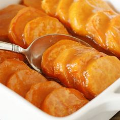 Glazed Sweet Potato Coins - sweet potato coins bathed in a citrus-laced brown sugar & butter glaze.