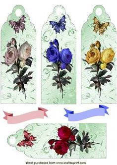 Pretty Coloured Roses With Butterflies Bookmarks Toppers on Craftsuprint designed by Nick Bowley - Pretty Coloured Roses With Butterflies Bookmarks/Toppers can be used either way there are other bookmarks to see Xmas, ladies, and flowers just go to my name above thankyou - Now available for download!