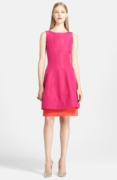 Because It's Happy:: Free shipping and returns on Oscar de la Renta Silk Dress at Nordstrom.com. Punchy color enlivens an impeccably tailored silk cocktail dress designed with a contrast underlayer peeking out from beneath the fully flared skirt.