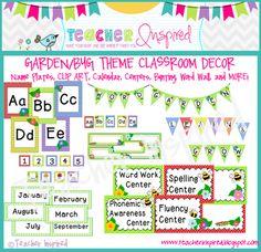 Garden Theme Classroom  Word Garden Bunting Banner!   http://www.teacherspayteachers.com/Product/Garden-Theme-or-Bug-Theme-Classroom-Pack-with-Chevron-Frames-754479