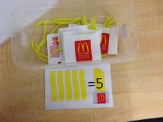 Work Tasks (TEACCH) Boxes - counting fries with visual