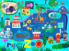 """""""Trip to the Zoo"""" canvas wall art by Jill McDonald for Oopsy daisy, Fine Art for Kids $119"""