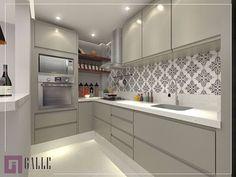 Cozinha linda e compacta, com esse revestimento super fofo pra dar aquele toque especial nela  Projeto autoral @gallearquitetura