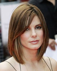 Sandra Bullock long bob Defend your hair Always protect your own hair from breeze and Medium Length Hair Straight, Long Thin Hair, Long Hair Tips, Straight Fringes, Straight Bob, Layered Bob Hairstyles, Straight Hairstyles, Cool Hairstyles, Hairstyle Hacks