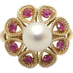 Vintage 14k Yellow Rose Gold 8mm Pearl and Ruby Cocktail Cluster Ring from antiquejewelryline on Ruby Lane