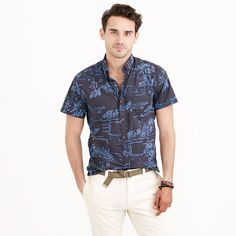 J.Crew - Secret Wash short-sleeve shirt in dusty coal floral