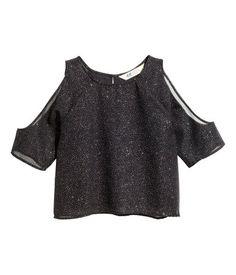 Glitterende cold-shouldertop | Zwart/glitters | Kinderen | H&M NL