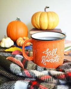 Fall is my favorite. Sip on your favorite beverage all Fall long with this hand-lettered ceramic mug. Details: + sturdy ceramic stoneware mug with glossy finish + 15 oz for a good sized cup of coffee, tea, hot chocolate... or even a few scoops of ice cream + I always recommend gentle hand washing but it is safe for use in the dishwasher and microwave + speckled pumpkin orange with flecks of white and black, white inside, black lip + white hand-lettering + double sided (yep!) so you see the…