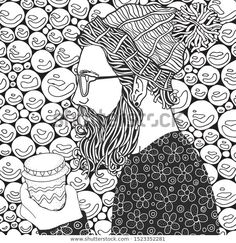Find Bearded Man Coffe Snowing Winter Snowflakes stock images in HD and millions of other royalty-free stock photos, illustrations and vectors in the Shutterstock collection. Zen Art, Coloring Book Pages, Bearded Men, Zentangle, Snowflakes, Art Ideas, How To Draw Hands, Royalty Free Stock Photos, Black And White