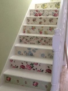 Floral vintage wallpaper stairs https://hannahstreasures.typepad.com/my-blog/2014/03/two-remarkable-customer-projects.html