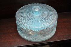 1950 Celebrity Powder Box Baby Blue Clear by PatinaAndCole on Etsy, $10.99
