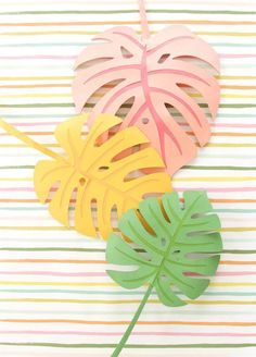 DIY Paper Monstera Leaves Autumn leaves are coming but I'm still holding on to summer. Combine both seasons with these DIY Paper Monstera Leaves made with a Cricut Explore<br> Paper palm leaves are always a good idea. Easy Paper Crafts, Paper Crafts Origami, Paper Plants, Paper Succulents, Paper Leaves, Diy Papier, Paper Flowers Diy, Leaf Art, Paper Decorations