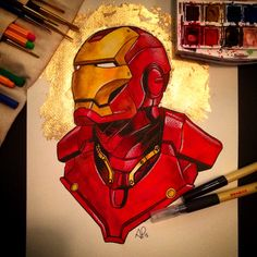 Iron Man Watercolor Commission - Anthony Petrie