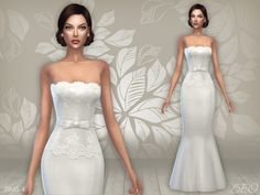 Wedding dress 03 for The Sims 4 by BEO Sims 4 Wedding Dress, Long Wedding Dresses, The Sims 2, Sims 4 Mm Cc, Sims 4 Tsr, Sims 4 Dresses, Sims 4 Cc Packs, White Ball Gowns, Sims 4 Toddler