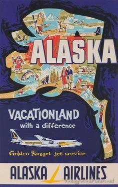 Vintage Travel Poster - Alaska - (Alaska Airlines).