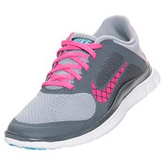 Women's Nike Free 4.0 Swoosh Running Shoes�  FinishLine.com   Wolf Grey/Pink/White