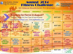 Fierce In August: print out your August Fitness Challenge Workout Calendar via www.myfitstation.com #workout #fitfam