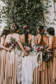 Boho Chic wedding ideas for a winter wedding. These gorgeous gold multiway dresses are perfect for a rustic wedding theme. Bohemian bridesmaid dresses available in a range of colours. Winter Bridesmaid Dresses, Winter Bridesmaids, Wedding Dresses, Bohemian Bridesmaid Dresses, Boho Bridesmaids, Wedding Flowers, Hair Flowers, Wedding Colors, Chic Wedding