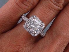 2 00 Carats Ct TW Cushion Cut Diamond Engagement Ring G VS2 | eBay