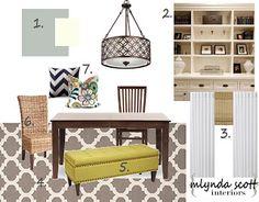 Mlynda Scott Interiors: Dining Room Mood Board Love this rug