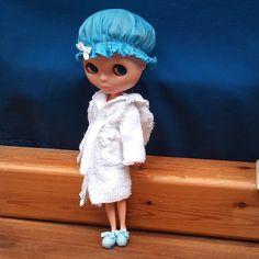 Blythe shower cap & bathrobe by RainbowDaisies on Etsy, $19.90