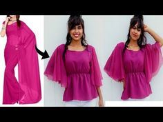 Convert Old Saree.Dupatta into UMBRELLA Sleeves Top in 10 Min, Diy Super Easy Top. Hi Desi Fam! In todays video i will show you, how to make umbrella sleeves top. This one is with sleeves which you guys wanted me to make and its very easy and trendy as Diy Tops For Women, Blouses For Women, Sewing Clothes Women, Diy Clothes, Dress Sewing Patterns, Clothing Patterns, Frock Patterns, Blouse Tutorial, Dress Websites
