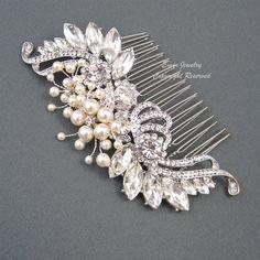 Weinlese-Hochzeits-Haar-Kamm, Brauthaarschmuck, Art Deco Ivory Swarovski Perlen Kristall Strass Silber Braut Combs Fascinator H1