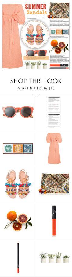 """Summer Sandals"" by bibibaubau ❤ liked on Polyvore featuring Toast, Arche, Hermès, Lisa Marie Fernandez, Elina Linardaki, Antik Batik, NARS Cosmetics, Allstate Floral, Summer and orange"