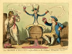 Jane, Duchess of Gordon: The Triumph of Bacchus or a Consultation on the Additional Wine Duty: FOR DESCRIPTION SEE GEORGE (BMSat). 26 April 1796. Hand-coloured etching
