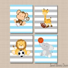 Safari Nursery Decor,Sports Animals Nursery Wall Art,Future All Star,Safari Nursery Decor,Animals Bathroom,Sports Nursery Safari Nursery DecorSports Animals Nursery by SweetBloomsDecor