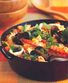 Paella - a tasty seafood and rice mix flavoured with saffron and tomatoes