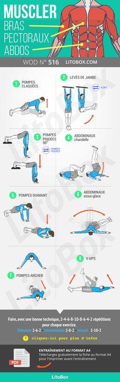 Muscler bras, pectoraux et abdos (programme)