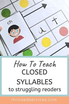 This is a great activity that utilizes Elkonin boxes to show directionality and help the students pace their reading of a word. Closed syllables can be hard for students struggling with dyslexia or other fluency disorders. Dyslexia Activities, Dyslexia Teaching, Teaching Phonics, Phonics Activities, Teaching Reading, Reading Fluency, Teaching Resources, Syllables Kindergarten, Reading Skills