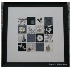 Framed collage using Stampin up products.Virginia K made these with us at our Late Night Stamper Stamp Camp Box Frame Art, Diy Frame, Box Frames, Card Making Inspiration, Making Ideas, Paper Art, Paper Crafts, Paper Collages, Candy Cards