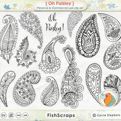Paisley ClipArt - Digital Stamps - Bohemian Clip Art Doodles - Silhouettes Outlines - PNG + Photoshop Brushes - Whimsical Graphics