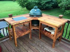Weber Grill Table Plans New Corner Table Design Big Green Egg Outdoor Kitchen, Big Green Egg Table, Big Green Egg Grill, Outdoor Kitchen Bars, Outdoor Kitchen Design, Green Eggs, Grill Table, Patio Grill, Grill Cart
