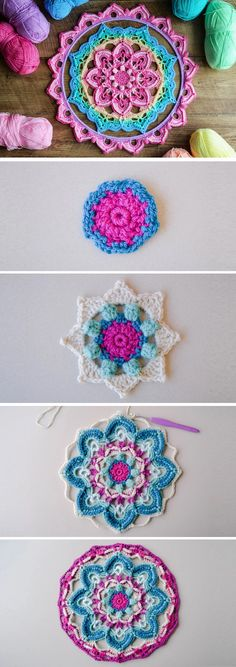 Crochet Stunning Mandala Coaster – Design Peak Mandala: Create Your Own Sun!How to Crochet a Beautiful MandalaI had fun remaking this design in bright and bold… Crochet Coaster Pattern, Crochet Mandala Pattern, Crochet Motifs, Crochet Squares, Crochet Stitches, Knit Crochet, Granny Squares, Crochet Doilies, Crochet Humor