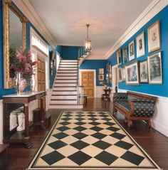 "Historic Properties for Sale - Columbus, MS, Temple Heights.  Note the Colonial hand painted floor covering on the floor, the same pattern as the floor cloth in my home in mid-Hudson New York.  Known then as ""marbleizing"" painting to mimic marble usually on canvas."