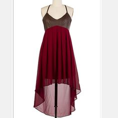 Hi-Lo Faux Leather Empire Waist Chiffon Dress Gorgeous cranberry colored chiffon dress with faux leather bodice.  Empire waist.  Available in S/M/L.  Price is firm and lowest listed upfront. Dresses