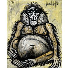 "Bernard Buffet, Mes Singes, ""Orang-Outan femelle"", 1997, Collection fonds de doation Bernard Buffet"