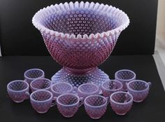Rare Signed FENTON Hobnail Opalescent PUNCH BOWL Stand & 12 Cups