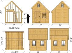 """The """"Walter"""" shed plan comes in x 146 ft² or x 200 ft² sizes. The """"Walter"""" shed plan is a x 146 ft² gable roof, wooden storage shed with a loft. If you choose the digital… Wooden Storage Sheds, Shed Storage, Wooden Sheds, Shed Construction, Firewood Shed, Clutter Solutions, Build Your Own Shed, Shed Kits, Diy Shed Plans"""