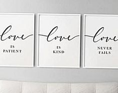 Bible Verse Wall Art 1 Corinthians 13 Above Bed Decor Set of 3 Prints Love is patient love is kind love never fails Christian Decor DIGITAL FILE SIZES INCLUDED 5x7 8x10 11x14 12x16 A3 16x20 18x24 24x36   After purchasing this artwork you will immediately receive your DOWNLOAD links on your invoice and via your confirmation email from Etsy. Remember this item is for digital download ONLY. No physical item will be shipped. After downloading them you can then print them using your home printer… Artwork Above Bed, Above Bed Decor, Bible Verse Wall Art, Bible Verses, Dinosaur Nursery, Christian Decor, Southwestern Decorating, Love Never Fails, Love Is Patient