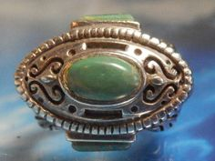 RARE ANTIQUE Ring w/ GENUINE Sherpa Turquoise in 925 Sterling Silver, size 7
