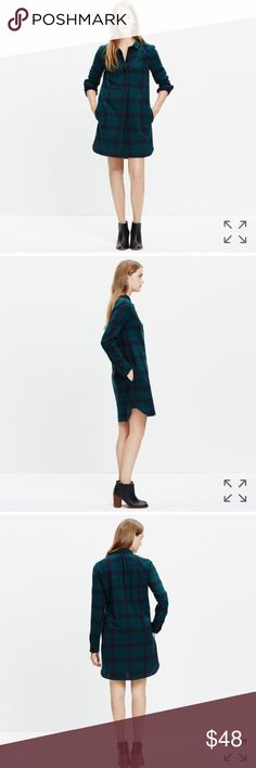 """Madewell Latitude Plaid Tunic Dress New without tags. PRODUCT DETAILS A green plaid shirtdress with a leg-flaunting longer-in-back hem. A timeless popover style in dress form, it's made of a special lightweight double-faced fabric that's solid navy on the flip side (aka it's made for sleeve-rolling). Also, did someone say pockets?? 🤗🤗🤗🤗  Shirtdress silhouette. Falls 36 3/8"""" from shoulder. Cotton. Machine wash. Import. Item E4994. Madewell Dresses"""