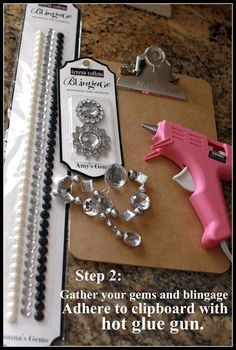 """Bling-Bling Clipboards-made these as """"goody gifts"""" for Em's birthday...I sprayed the boards black, used permanent 'gem' glue and a bag of 'rhinestones' from Michaels. Girls loved them & a few (grown up) friends have asked for one!"""
