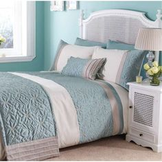 bedding blue and gray   HOME > Catherine Lansfield Lois Duck Egg Bedding Set