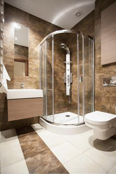Bathroom With Multi-Function Shower Panel System